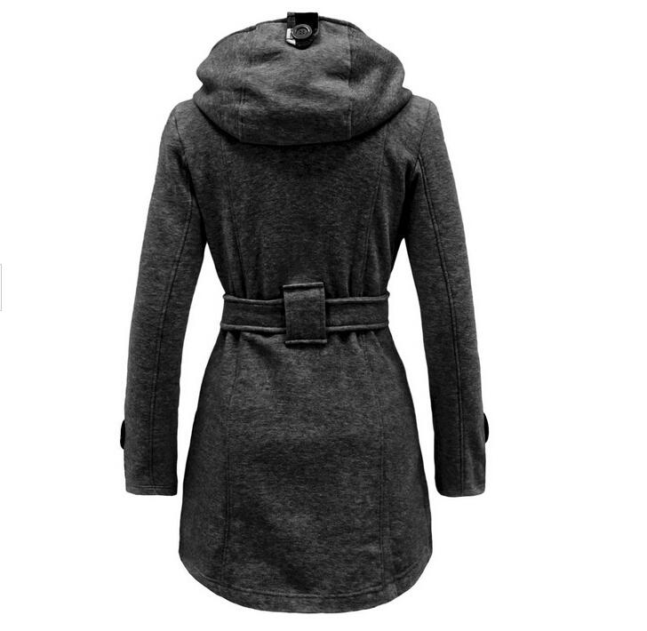 New Women Coats 2015 Europe Station Women's Fashion Slim Double-breasted Coat Long Hooded with Belt Winter Cotton Coats for Women