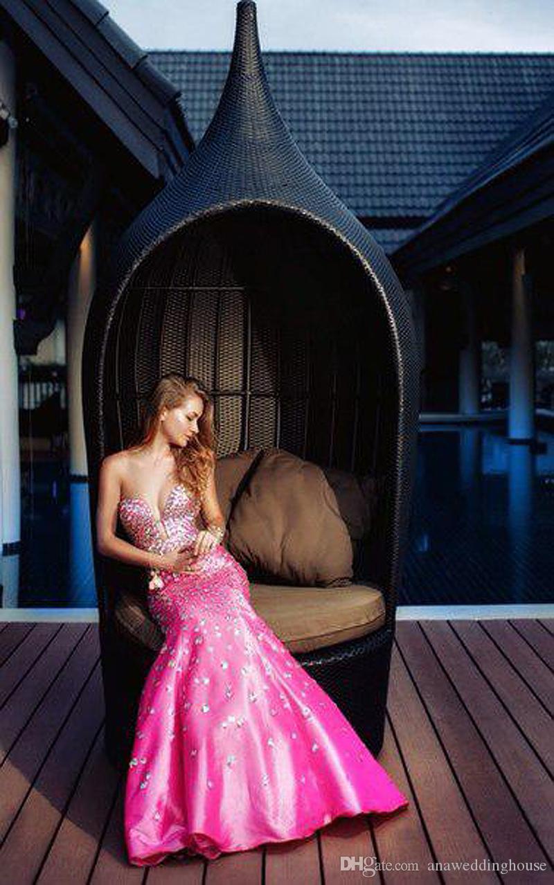Кристалл бисероплетение вечерние платья русалка стиль Vestidos де Фиеста длинные искрение Pageant платья развертки поезд розовый Sexy Пром платья 2015