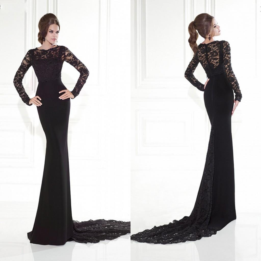 Black Long Sleeve Evening Dresses Hot Lace Mermaid Sweep Train ...