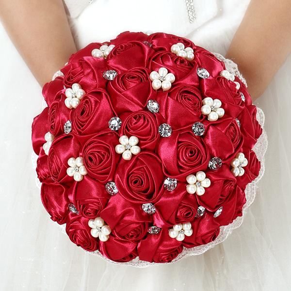 Foam Rose Red Artificial Wedding Accessories Pearl Bridesmaid Bridal Bouquet White Crystal Hand C42 Flowers Cheap Blossom