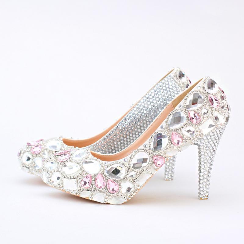 Серебряный Rhinestone Свадебные Туфли Круглый Toe Свадебные Туфли с Розовой Кристалл Платформа Обувь для Выпускного Вечера Высокие Каблуки