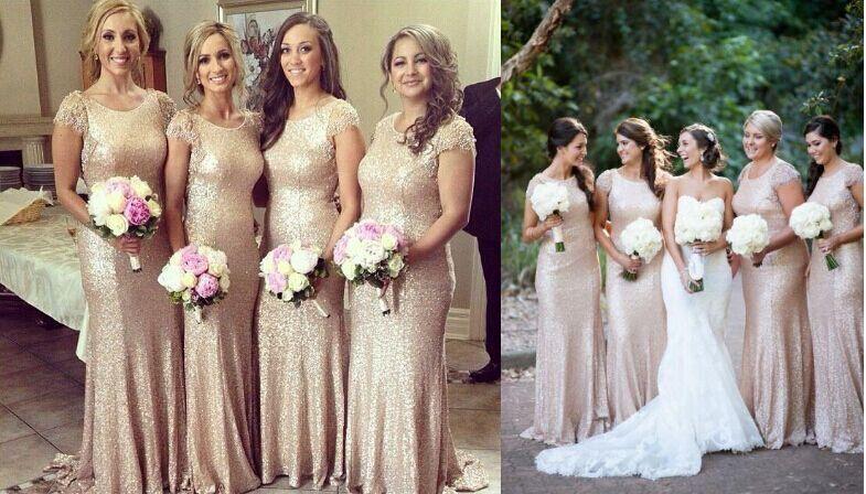 Desconto 2019 Champagne cor lantejoulas manga curta vestidos de dama de honra até o chão Ruched Prom Dresses