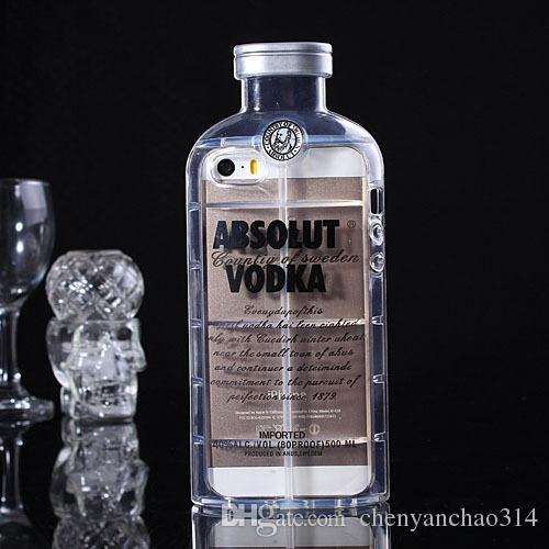 Cas de téléphone pour iPhone 6 5 5S 4 4S 6 plus téléphone cellulaire de protection Shell luxe absolu Vodka alcool bouteille de vin livraison gratuite