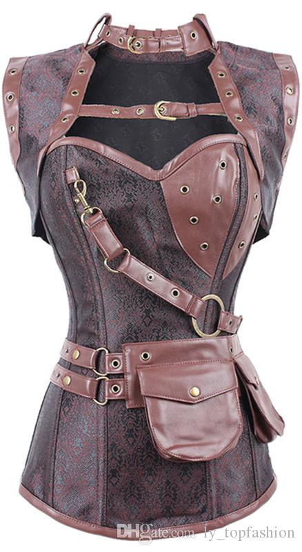 bf426701164 2019 New Sexy Women Steampunk Corset Punk Brown Black Faux Leather Floral Steel  Boned Bustiers Lace Up Plus Size Waist Trainer From Ly topfashion