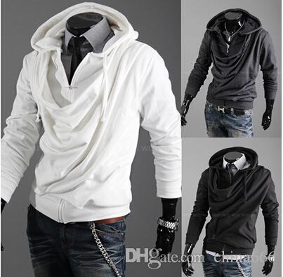 Cappotto maglione del cardigan del cappuccio incappucciato di modo del collare del collare del 2015 di modo degli uomini di disegno della personalità casuale sottile. @ 897f