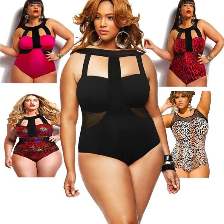 dda9a93b32 PrettyBaby Plus Size Swimwear One Piece Women Leopard Print Bikini ...