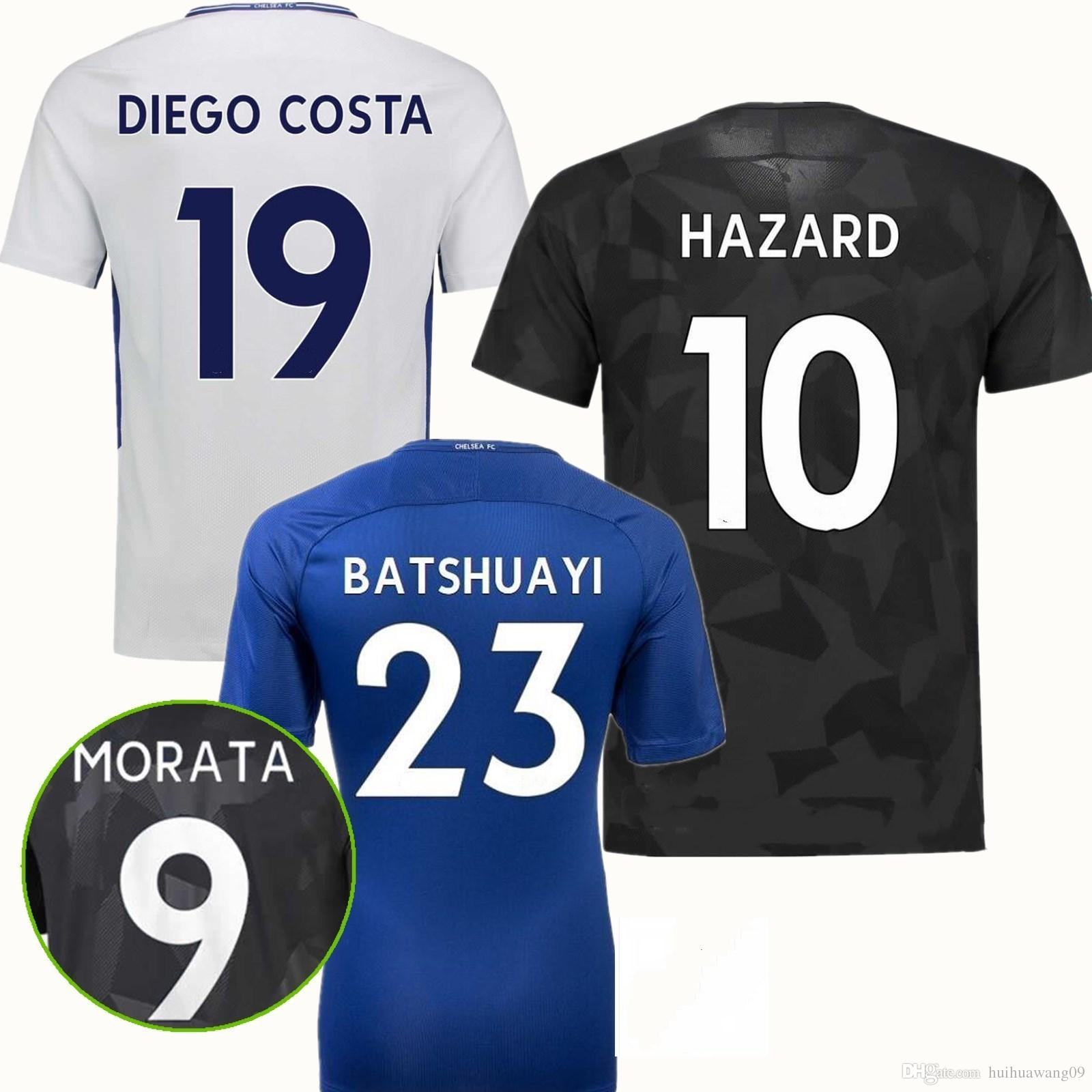 2018 Home Away Third Black Blues Soccer Jerseys Willian Hazard Kante ... 70efb59b841aa