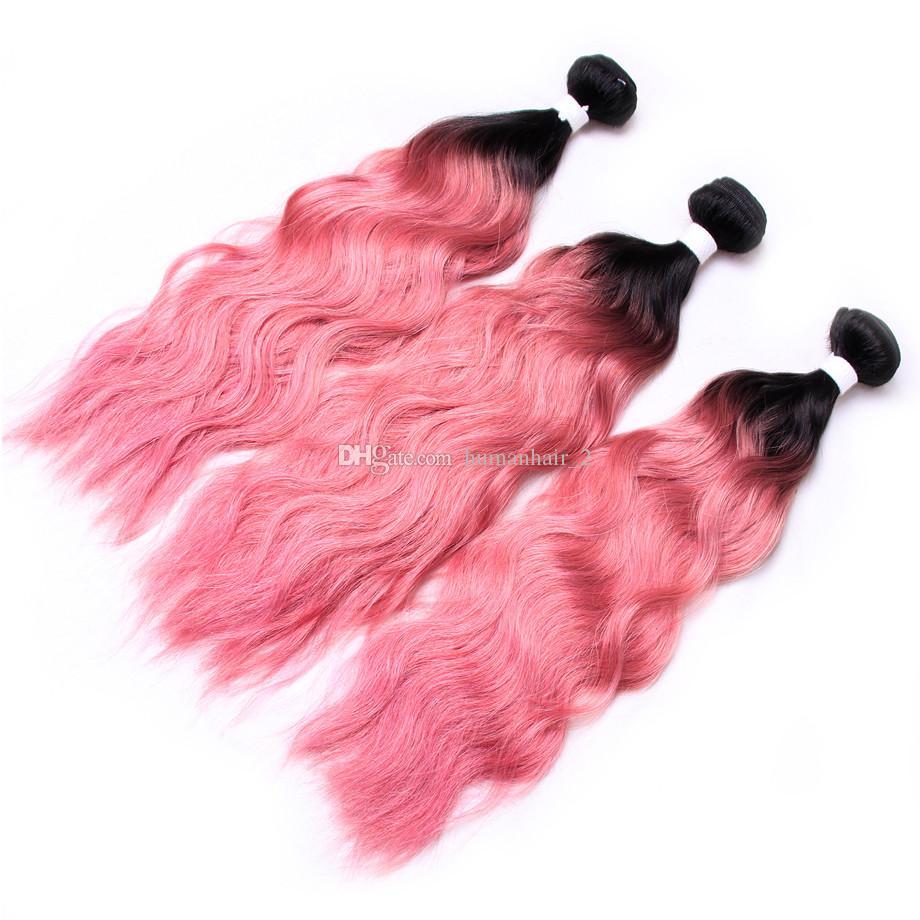 Wet And Wavy Human Hair Bundles Top Sale Ombre Human Hair Weave 1B Pink Water Wave Bundles Cheap Two Tone Ombre Brazilian Hair