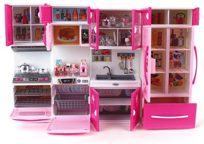 Best Quality Kawaii Hello Kitty Girl Kids Kitchen Toys Set Children  Brinquedos Meninas Gilr Dollhouse Furniture With Sound Light At Cheap
