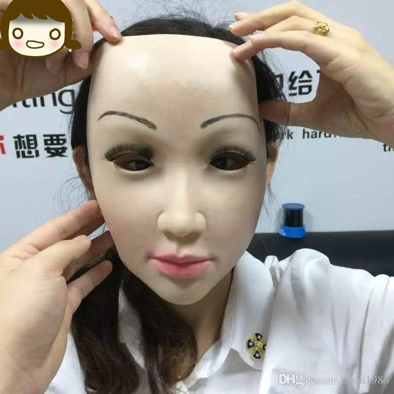 Top grade Party human mask crossdress silicone female unisex face mask halloween cosplay without hair latex face skin mask