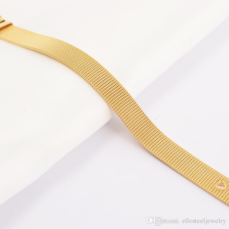 316L الفولاذ المقاوم للصدأ شبكة أسلاك سوار الفضة ارتفع الذهب قابل للتعديل حزام مشبك حزام سوار شبكة الكابل سوار المجوهرات هدية