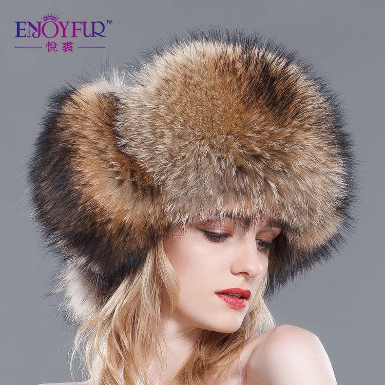 1348d4264f5 Winter 2015 Fox Raccoon Fur Hat Keep Warm Bomer Hats Ear Protector ...