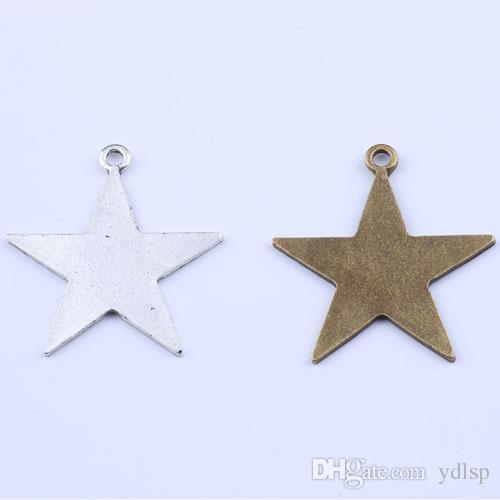2016 новая мода серебро / медь ретро пятиконечная звезда кулон DIY ювелирные изделия кулон fit ожерелье Шарм 30 шт. / лот 2122y