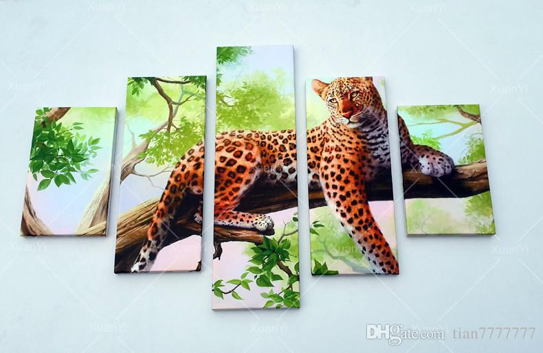 5 Panel Leopard Pictures Oil Painting Wall Decor Canvas Pop Art Cuadros High Defination Prints For Living Room Unframed Hot Sale