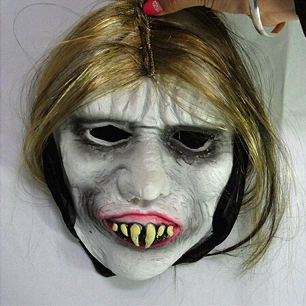 Halloween Full Head Mask Scary Buck Teeth Vampire Cosplay Prank ...