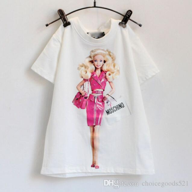 Summer children clothes girl cartoon suit set t-shirt+skirt 100% cotton pink color 4s/l