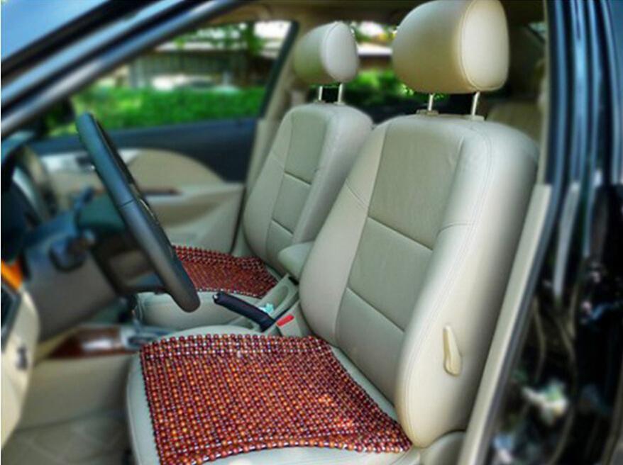 Cuentas de madera de color marrón de madera del asiento de coche cojín lateral fresca del cojín del masaje refrescante Mat calor del verano Material Four Seasons General