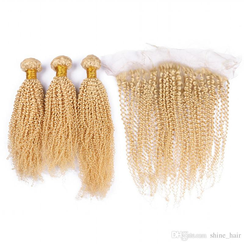 Pure Brazilian Kinky Curly Virgin Human Hair Weaves Blonde 3Bundles with Full Frontals Afro Curly 13x4 Lace Frontal Closure