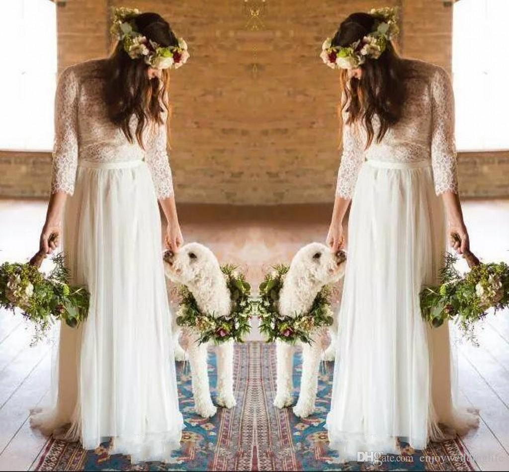 Discount Vintage Country Boho Wedding Dresses 2018 Sheer Long ...
