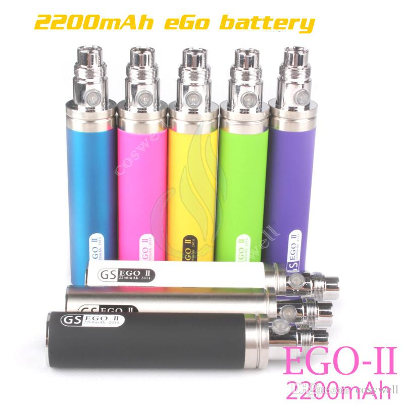 Original GS eGo II 2200mAh battery KGO ONE WEEK 2200 mAh huge capacity Power mods vapor mod atomizers vape pen e cigs cigarettes battery DHL