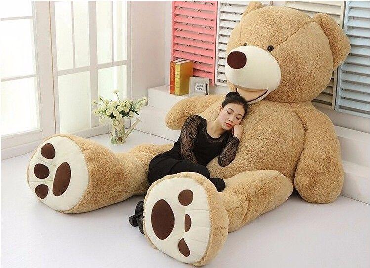 2019 2016 stuffed giant 340cm big plush teddy bear huge soft 100 cotton doll toys brown teddy. Black Bedroom Furniture Sets. Home Design Ideas