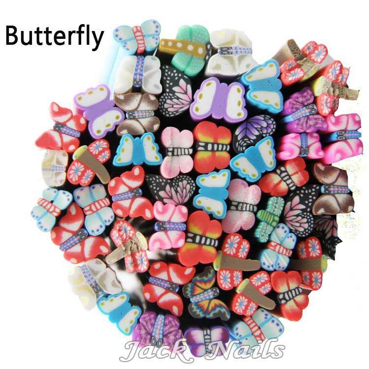 5mm Nail Art Köpekler Fimo 3D Nail Etiketler Dekorasyon, HotPolimer Kil Meyve Çiçek Buttefly DIY Nail İpuçları Aksesuarlar