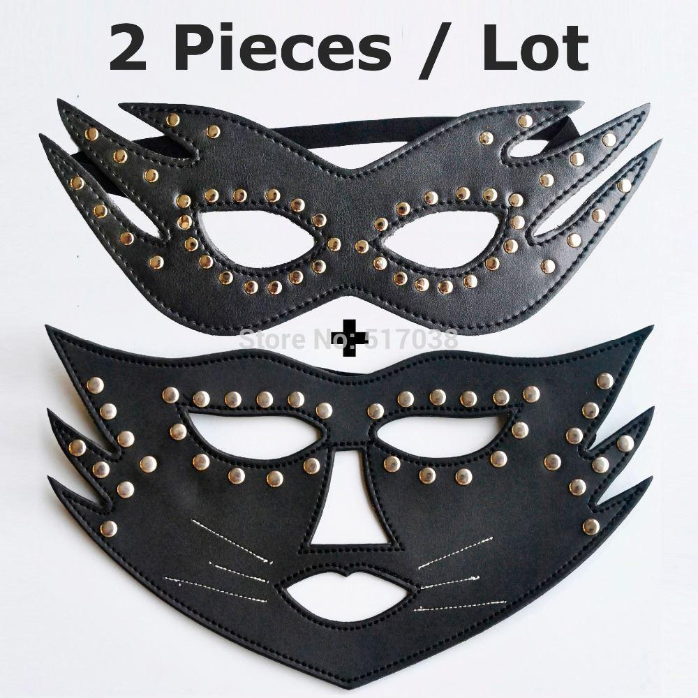 Black Cat Fox Women Leather Sex Mask For Fox Couples Adult ...