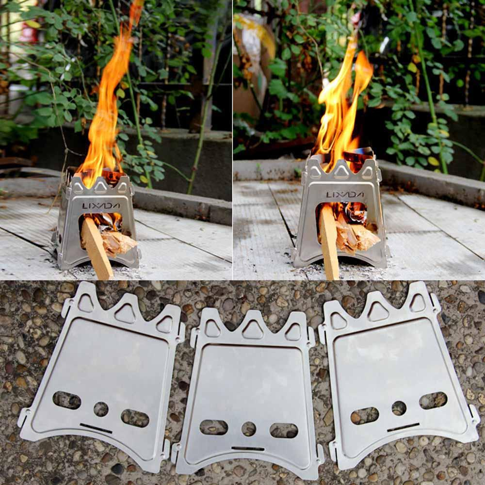 Hot Sale Lixada Outdoor Stove Compact Folding Wood Stove Outdoor ...