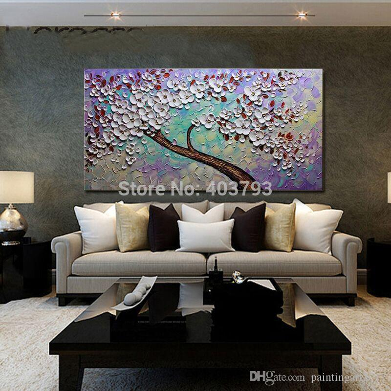 Hand Painted Wall Pop Art Abstract Blue Palette Knife Forest Landscape Wall Picture Living Room Bedroom Home Decor Art