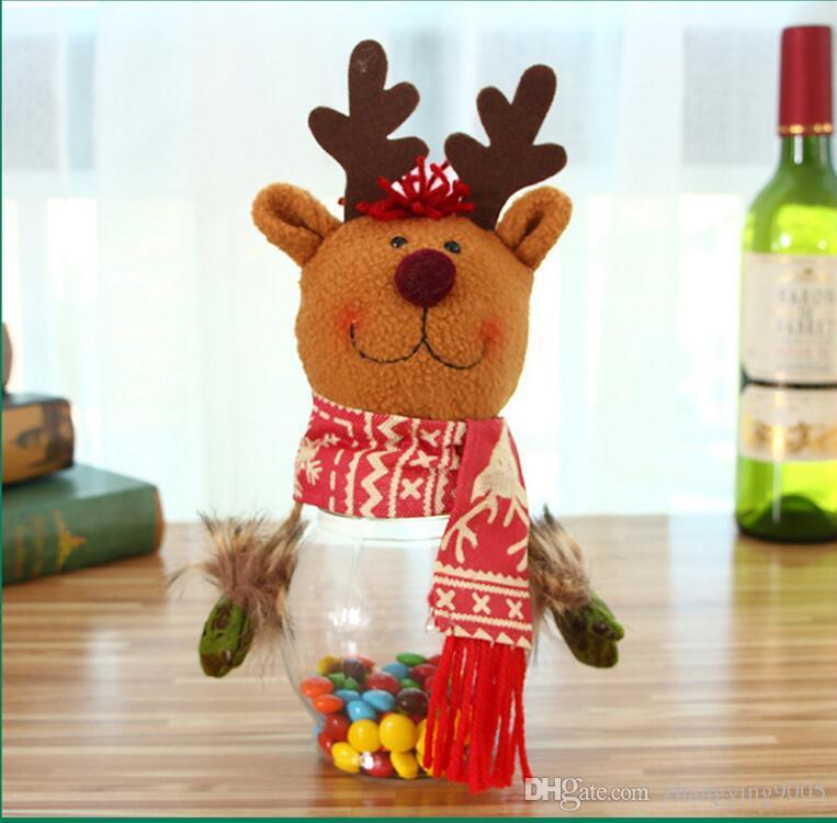 2017 heißer verkauf Festliche Weihnachtsschmuck für Santa Claus Deer Schneemann Süßigkeiten glas Dekoration 10 * 25 cm Kostenloser Versand