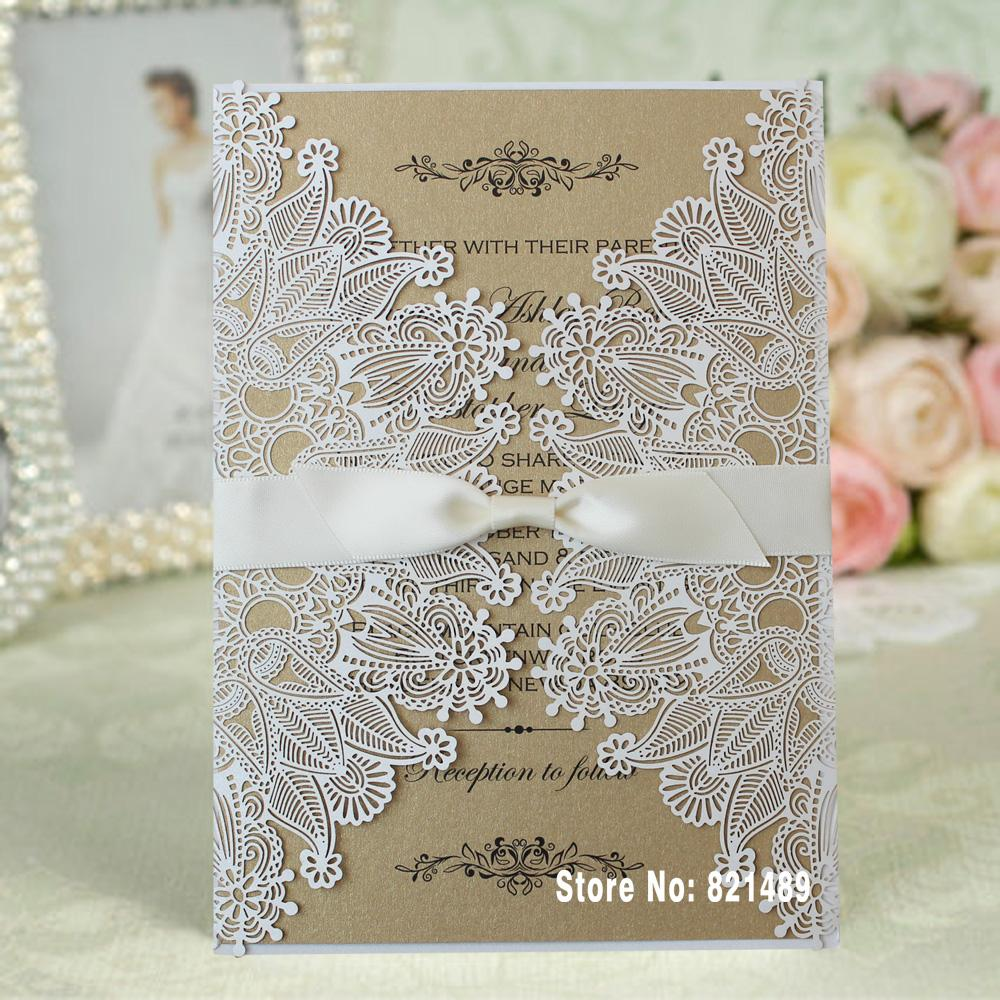 Wholesale white lace invitation rustic wedding invitation unique wholesale white lace invitation rustic wedding invitation unique custom printing wedding invitation cards set of 50 card greeting card greetings from kristyandbryce Choice Image