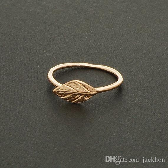 - R031 Gold Silver Simple Nature Leaf Ring Cute Olive Maple Plant Tree Leaf Ring Feather Ring Vine Rings for Ladies Women