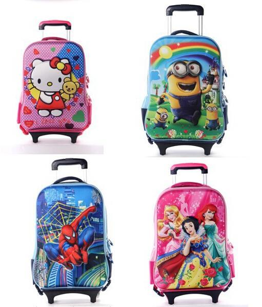 2015 New Children Minions 3d Bags Girls&Boys Trolley School Bags ...