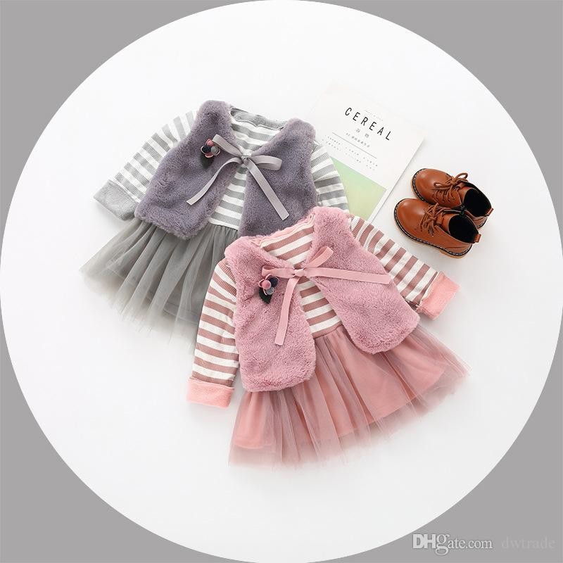 e9a72d4fbe4c4 2019 Set Girls Flower Dresses 2018 Baby Girls Faux Fur Lace Dress Kids Girl  Princess Pearl Dress Kids Winter Clothing From Dwtrade, $14.12 | DHgate.Com