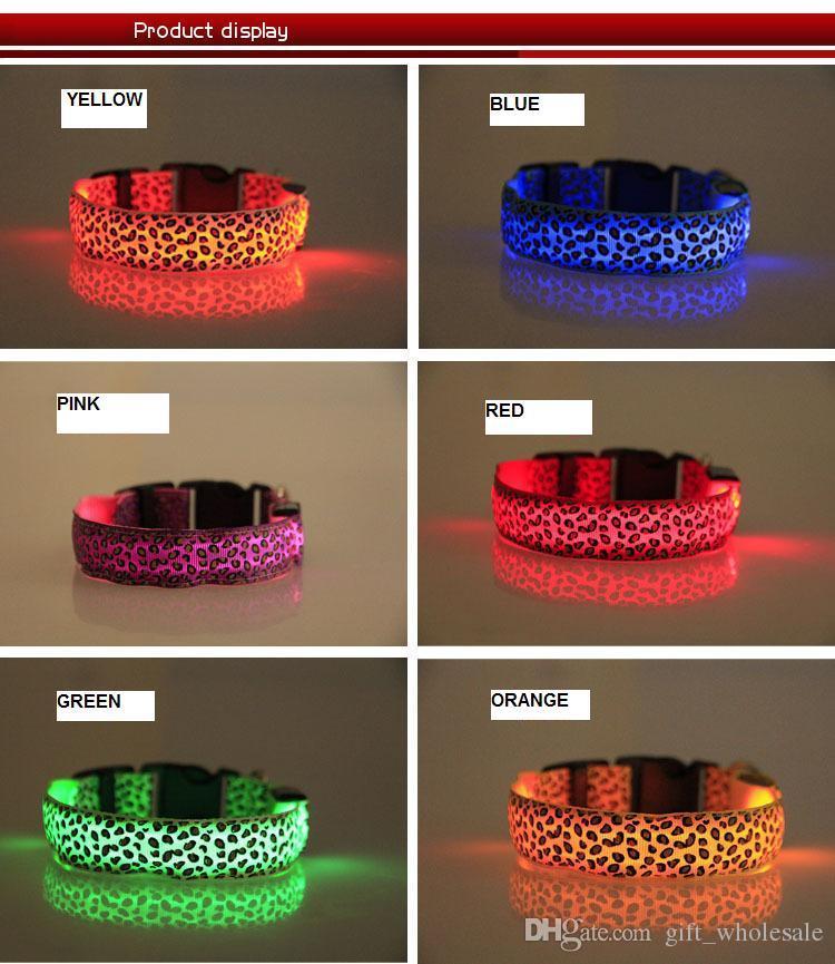 Leopard Pet Dog LED Collar Glow Cat Collars Flashing Nylon Light Up Training Collar for dogs 4 Sizes Pet Supplies