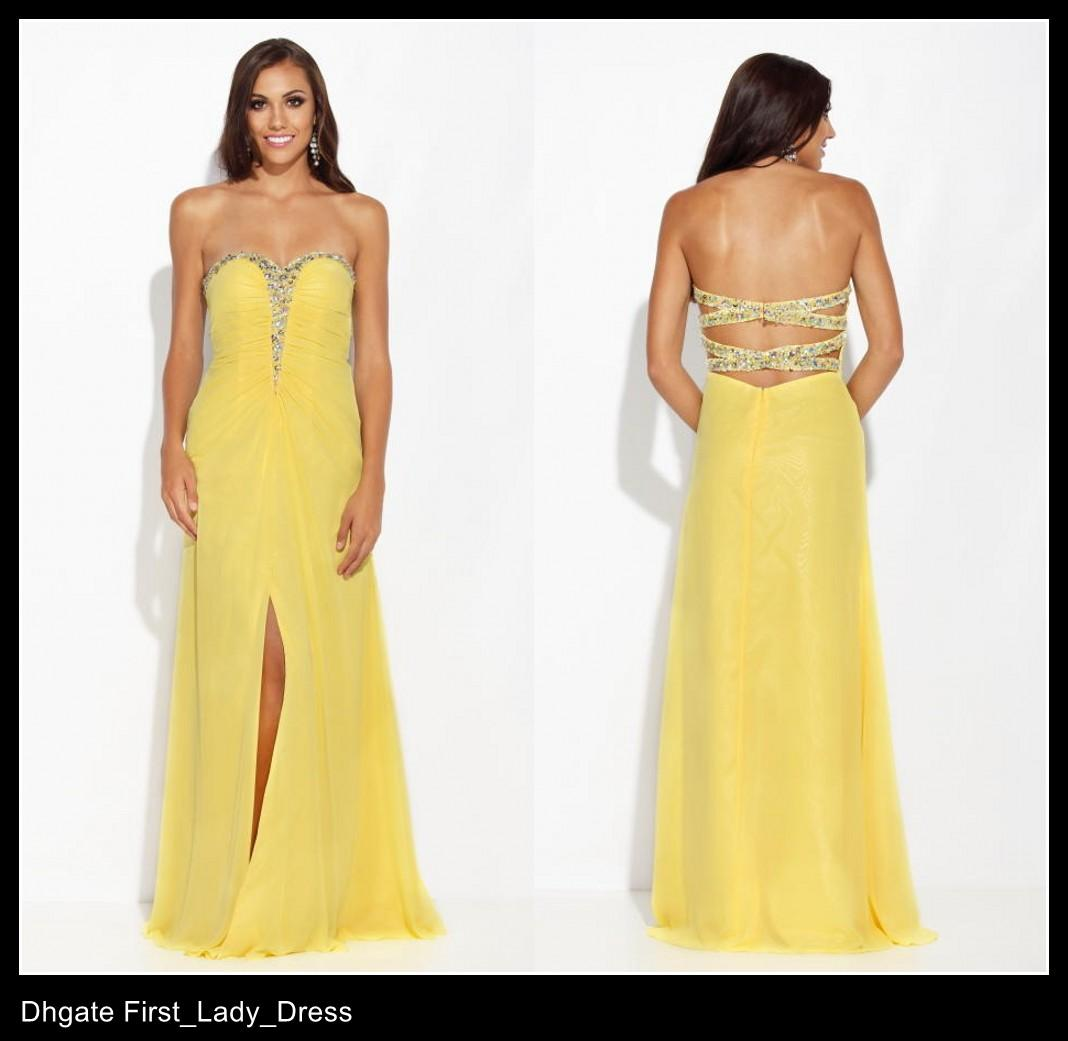 Affordable High Leg Slit Yellow Evening Dresses Special