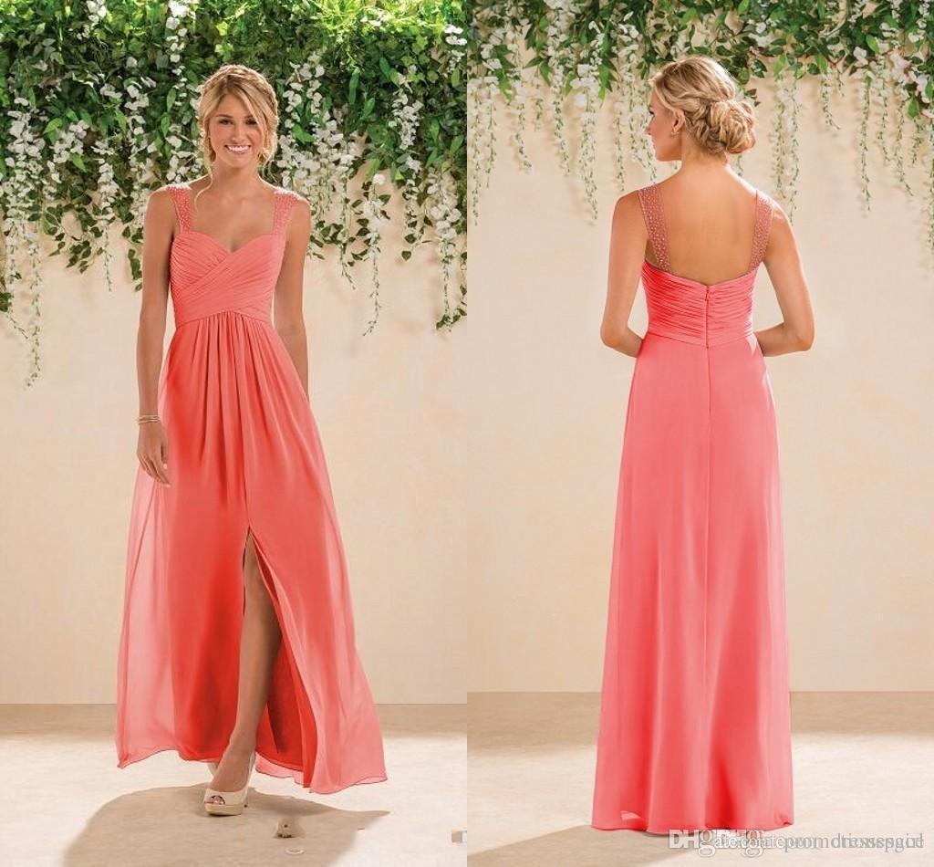 2020 Coral Beach Druhna Sukienki Szyfonowa Długa Linia Zroszony Spaghetti Paski Kryształy Split Prom Suknie Tanie Druhna Dress