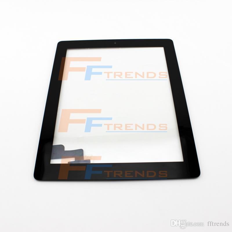 Para ipad 2 3 4 touch screen digitador assembléia com botão home e adesivos de substituição de peças de reparo do painel de toque de vidro preto branco