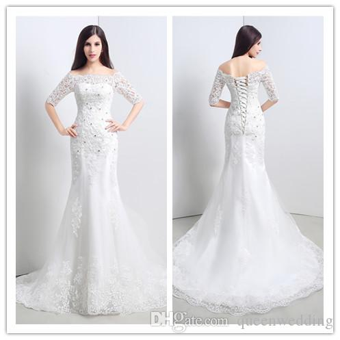 Elegant Mermaid 2015 Wedding Dresses With Beaded Boat Neck Cheap Stockings Bridal Gowns Half Sleeves Floor Length Bride Dress SX031
