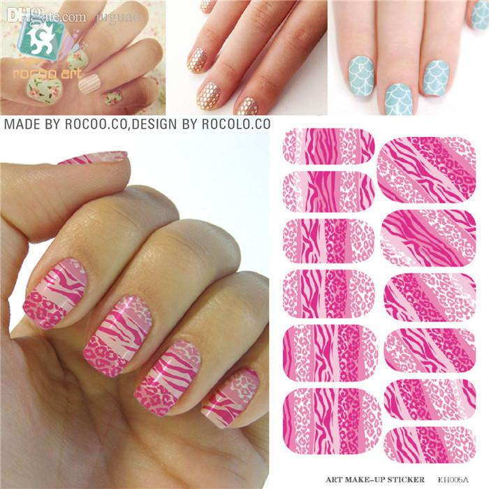 Wholesale Pink White Water Transfer Nails Art Sticker Decals Lady ...