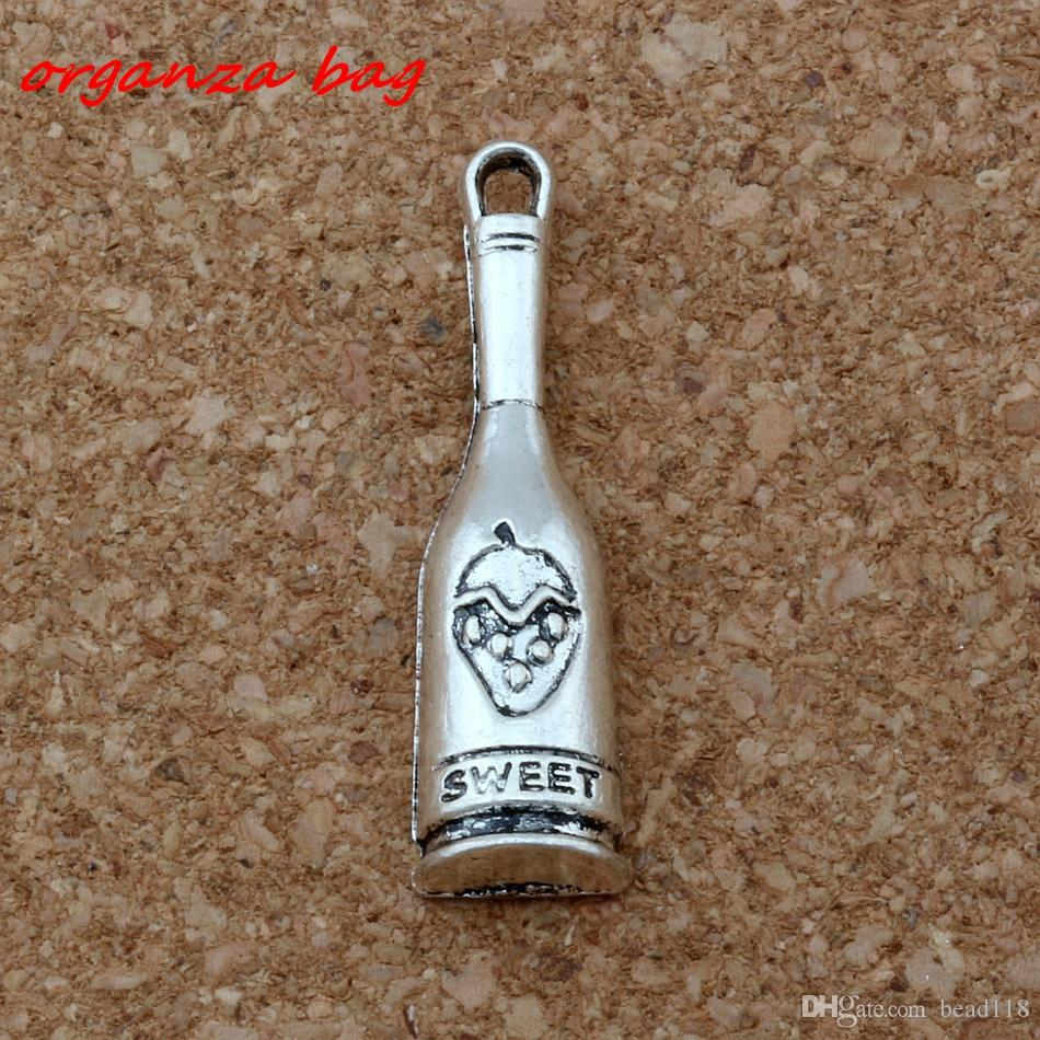 MIC ./ Antiqued Silver Alloy Nice SWEET Bottle Charm Pendants 8x30.5mm DIY Jewelry A-147
