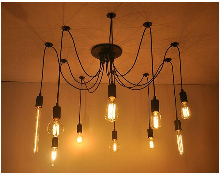 Эдисон Дизайн Подвесной Светильник Эдисон Винтаж Люстра Spider Люстра лампа, Эдисон Люстры 12шт Американский Стиль Светодиодные лампы