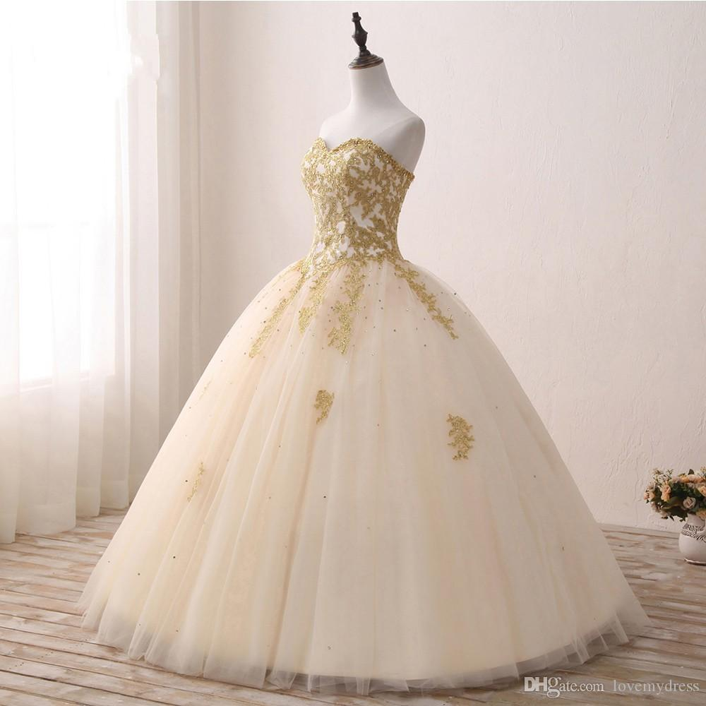 Fashion Champagne Tulle With Gold Embroidery Lace Ball Gown Wedding Dresses Cheap Sweetheart Sequins Tulle Plus size Real Photo Bridal Gowns