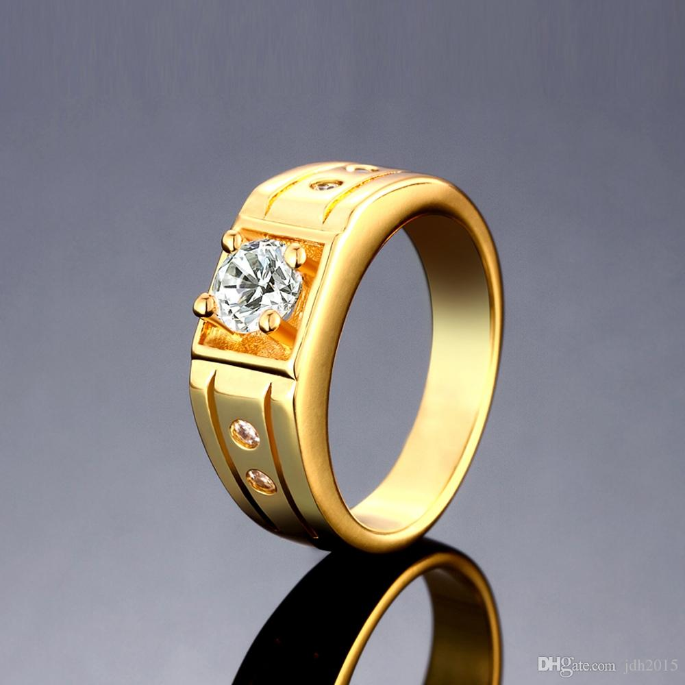 Luxury Men Jewelry Platinum/Gold/Rosegold Plated Solitaire Ring Bezel Set CZ Crystal Groove Band Pinky Ring US Size#8-10