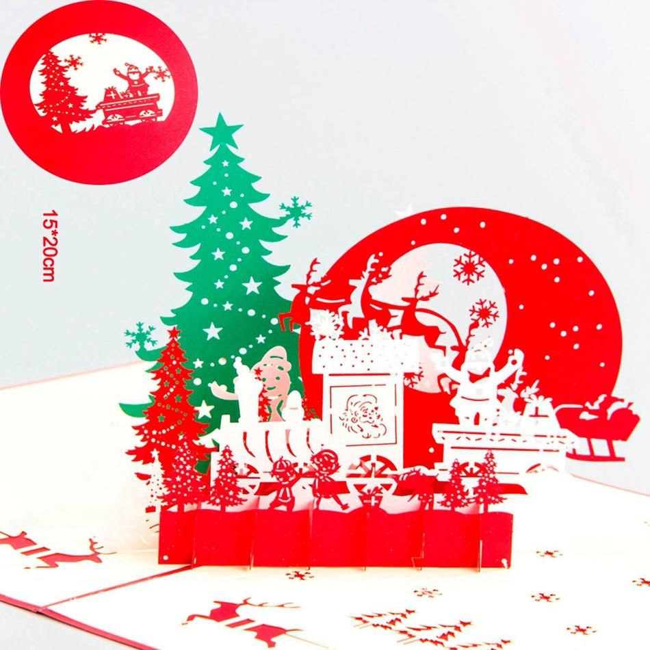 Wholesale Christmas Eve 3d Laser Cut Pop Up Paper Pop Up Handmade