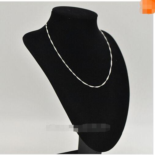 VENTA !! 925 Sterling Silver Water Wave Ripple Necklace Chain Chic Joyería de moda Jewel