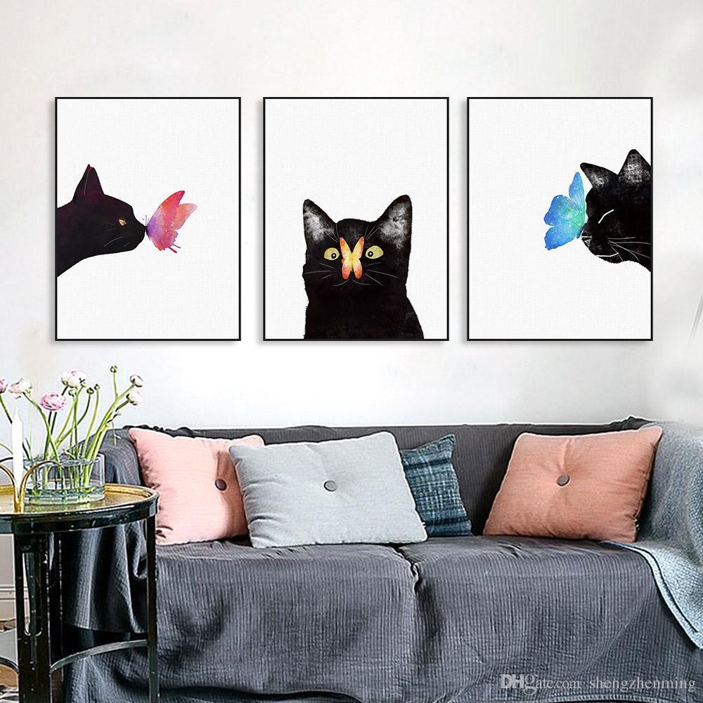Compre Acuarela Gatos Negros Mariposa Kawaii Animales Lona Grande A4 ...