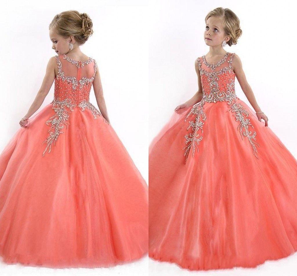 2016 Peach Ball Gown Girls Wedding Dresses Jewel Beaded Crystal ...