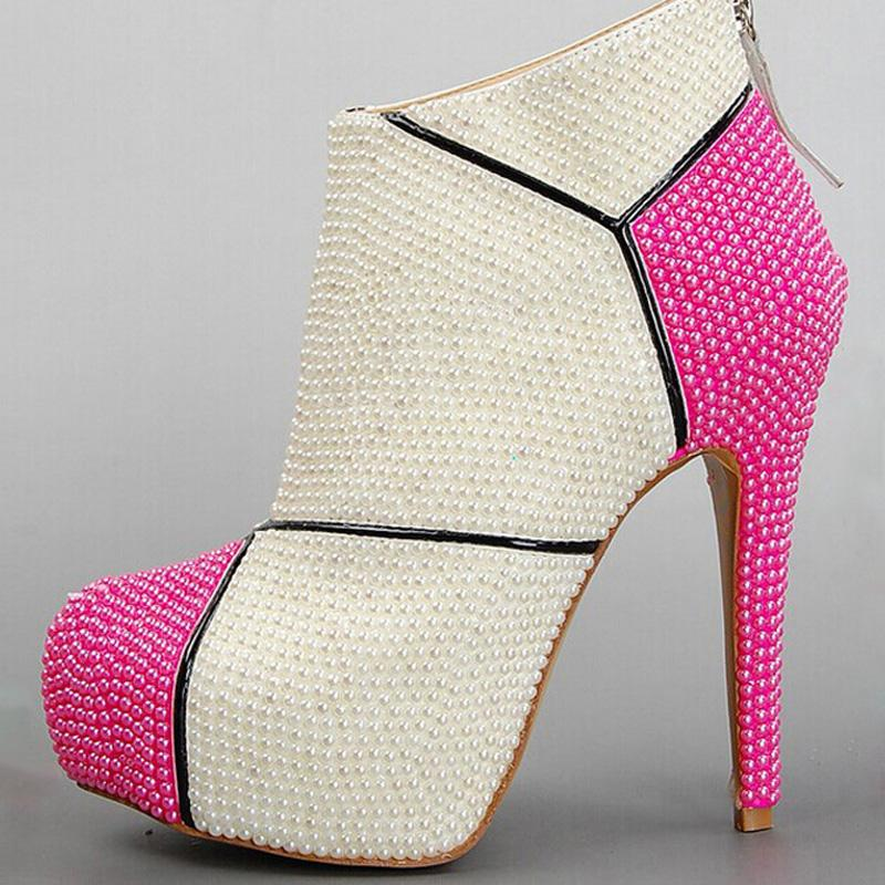 Ivory Wedding Elegant Lady High Heel Pearl Shoes for Bride Winter Party Prom Boots Lady Fashion High Heel Boots