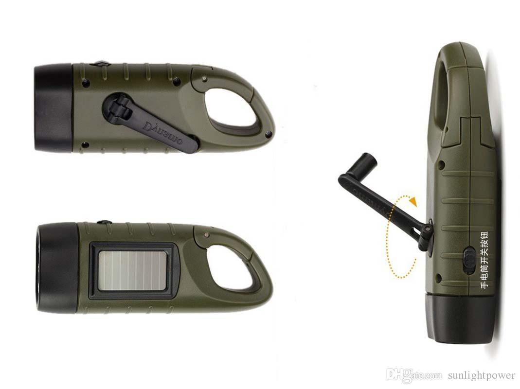 SOS Hotsale Portable LED Hand Crank Dynamo Solar Power Flashlight Torch Outdoor Camping Mountaineering Night Linternas